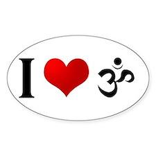 I Love Hindu Oval Decal