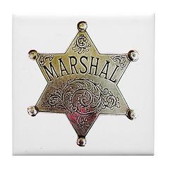 Old West Marshal Tile Coaster