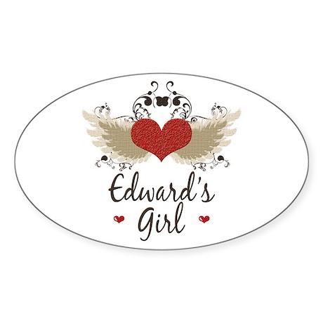 Twilight Edward's Girl Oval Sticker (50 pk)