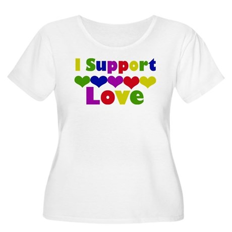 I support Love Women's Plus Size Scoop Neck T-Shir