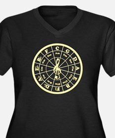 Yellow Circle of Fifths Women's Plus Size V-Neck