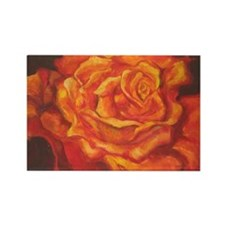 Fiery Rose Rectangle Magnet