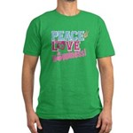 Peace Love and Happiness Men's Fitted T-Shirt (dar