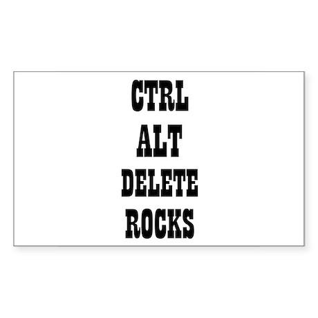 CTRL ALT DELETE ROCKS Rectangle Sticker