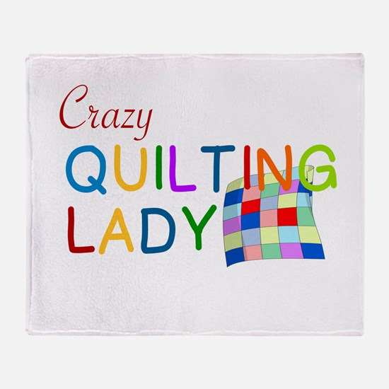 CRAZY QUILTING LADY Throw Blanket