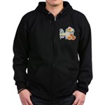Cute Garden Time Baby Ducks Zip Hoodie (dark)