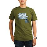 Jesus Saves Organic Men's T-Shirt (dark)