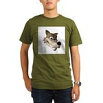 Funny Wolf Face Organic Men's T-Shirt (dark)