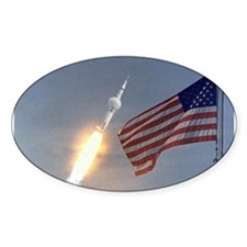 Apollo 11 Launch & Flag Oval Decal