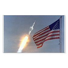 Apollo 11 Launch & Flag Rectangle Decal