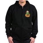Silly Froggy in Pumpkin Zip Hoodie (dark)