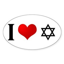 I Love Judaism Oval Decal