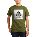 Silver Football Penguin Organic Men's T-Shirt (dar