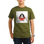 Red Boxing Penguin Organic Men's T-Shirt (dark)