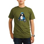 Blue Scooter Penguin Organic Men's T-Shirt (dark)