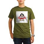 Red CheerLeader Penguin Organic Men's T-Shirt (dar