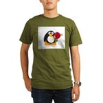 Clay Penguin with Rose Organic Men's T-Shirt (dark