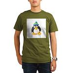 Clay Green Beanie Penguin Organic Men's T-Shirt (d