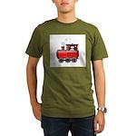 Penguin on a Train Organic Men's T-Shirt (dark)