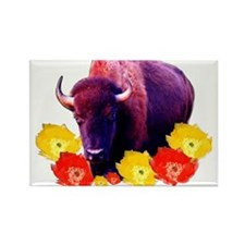 Buffalo Blooms Rectangle Magnet