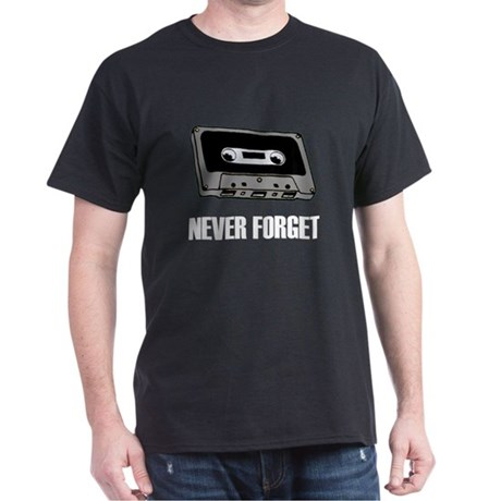 Never Forget Cassettes Tapes Dark T-Shirt