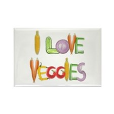 I Love Veggies Rectangle Magnet