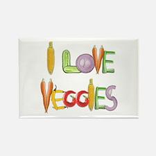I Love Veggies Rectangle Magnet