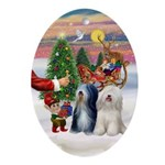 Santa's Treat for his Tibby Pair Oval Ornament