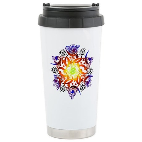 Stainless Steel Hexa Mandala Travel Mug