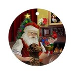 Santa & his Chocolate Labrador Ornament (Round)