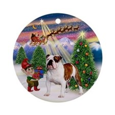 Christmas Tree & English Bulldog Ornament (Round)