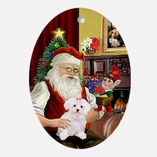 Santa's Maltese Puppy Oval Ornament