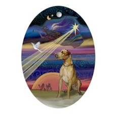 Great Dane & Christmas Star Oval Ornament