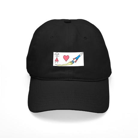 Girls Heart Rockets Black Cap