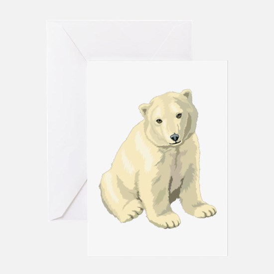 Cute White Polar Bear Greeting Cards