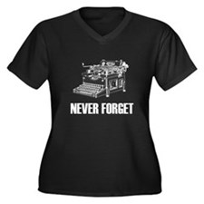 Never Forget Typewriters Women's Plus Size V-Neck