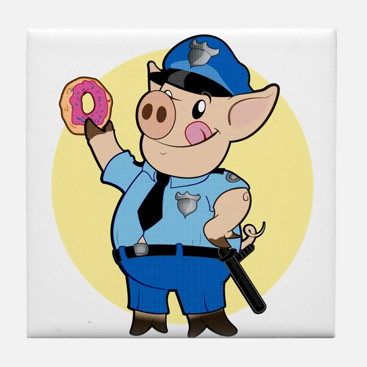 Cop Chops Tile Coaster
