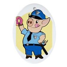 Cop Chops Oval Ornament