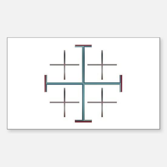 Blue Jerusalem Cross Rectangle Decal