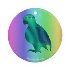 Green Parrot Ornament (Round)