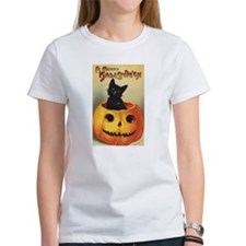 Vintage Halloween, Cute Black Cat Tee