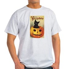Vintage Halloween, Cute Black Cat T-Shirt