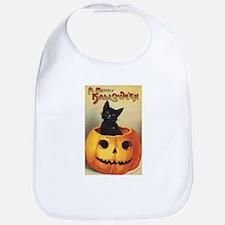 Vintage Halloween, Cute Black Cat Bib