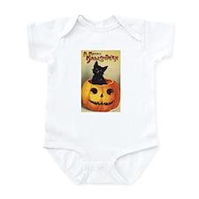 Vintage Halloween, Cute Black Cat Infant Bodysuit