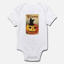 Vintage Halloween, Cute Black Cat Infant Bodysuit