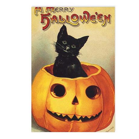 Vintage Halloween, Cute Black Cat Postcards (Packa