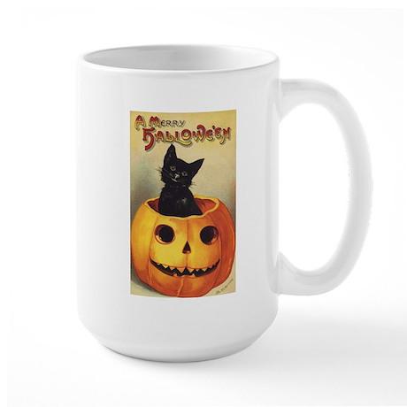 Vintage Halloween, Cute Black Cat Large Mug