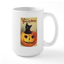 Vintage Halloween, Cute Black Cat Mug