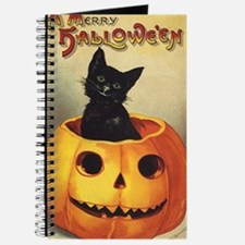 Vintage Halloween, Cute Black Cat Journal