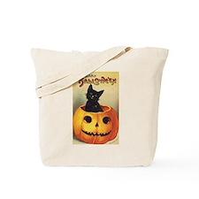 Vintage Halloween, Cute Black Cat Tote Bag